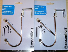 2 - Dual Over The Door Hooks Hangers Chrome Finish Garments Shirt Coat H... - $8.99