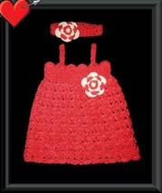 Handmade dress set 3-6M crocheted in orange tangerine cotton thread  - $30.00
