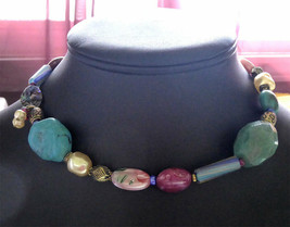 """Signed Chico's Colorful Chunky Bead Necklace - Variable length to 20"""" - $49.99"""