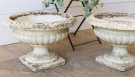 Vintage Set /2 Stone Garden Urns Planters Flower Plant Pot Yard Art,21''... - $1,831.50