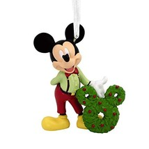 Hallmark Christmas Ornaments, Disney Mickey Mouse With Wreath Ornament - £15.84 GBP