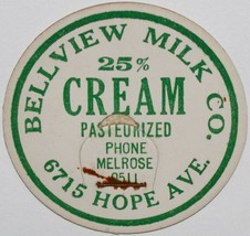 Vintage milk bottle cap BELLVIEW MILK CO Cream green lettering 6715 Hope... - $9.99