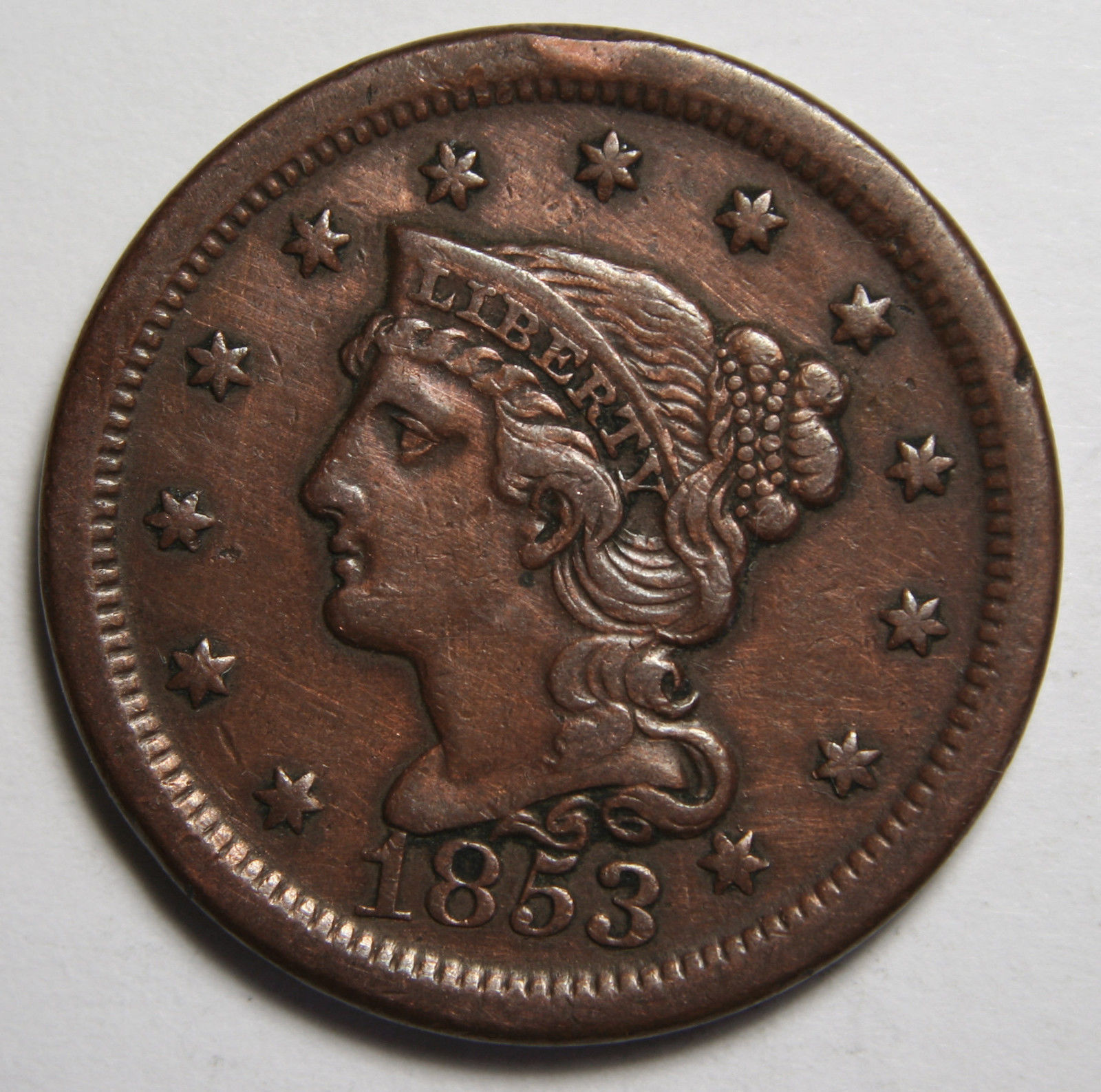 1853 Large Cent Liberty Braided Hair Head Coin Lot # MZ 4105