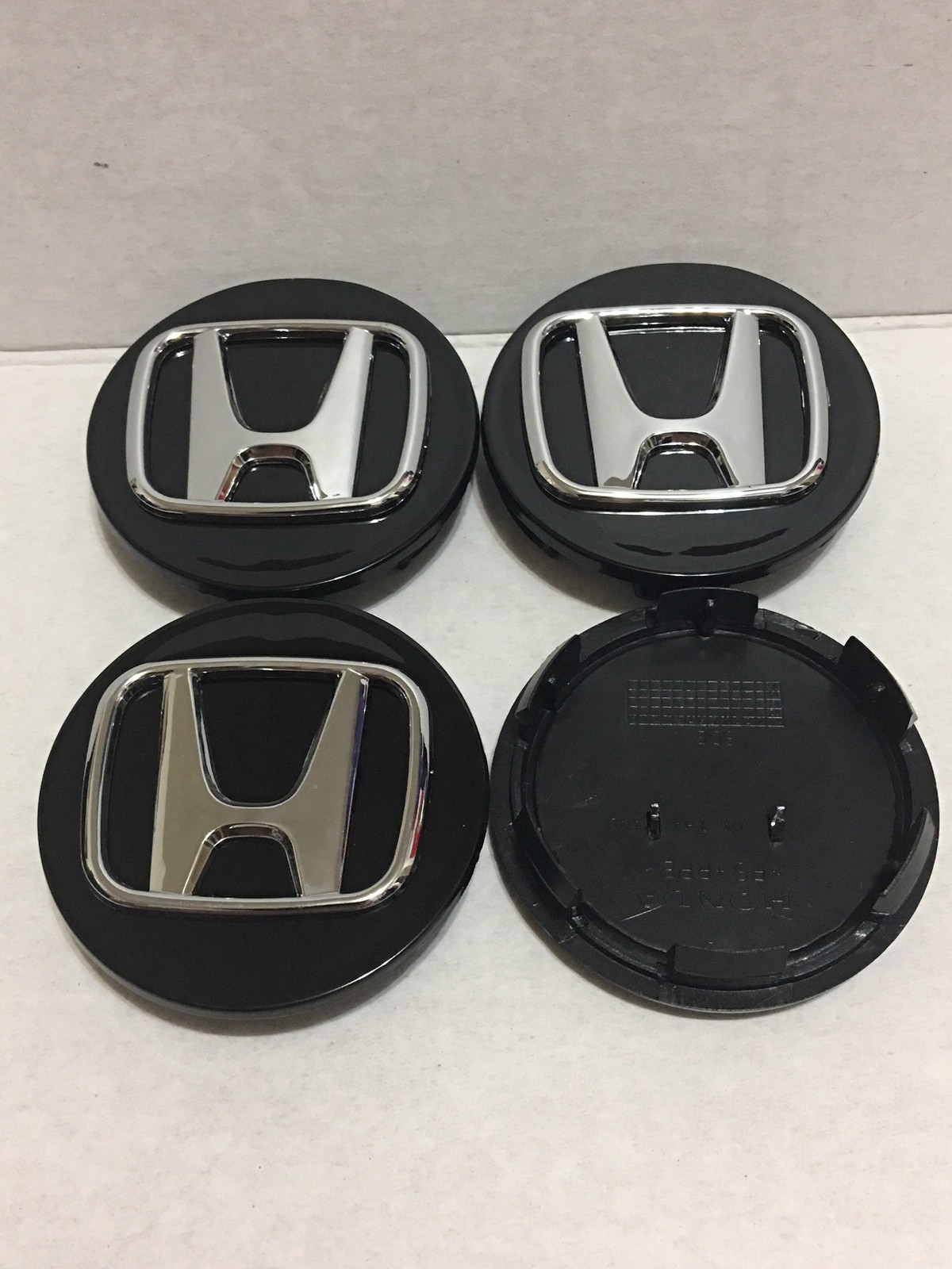 "4 Pcs Wheel Center Cap Honda Accord Civic Black Chrome Logo 69 MM / 2.75"" -H2"