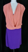 Diane Von Furstenberg Dress Tunic size 12 Peach Purple Silk Drop Waist Cocktail - $159.97