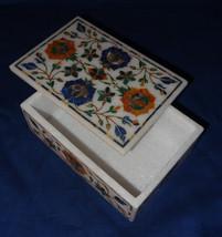 "6""x4""x2"" Marble Marquetry Lapis Lazuli Malachite Jewelry Box Pietra Dura Decor - $349.89"