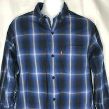 Levis Red Tab Blue Glowing Grid Plaid L Button Down Long Sleeve Shirt La... - £22.07 GBP