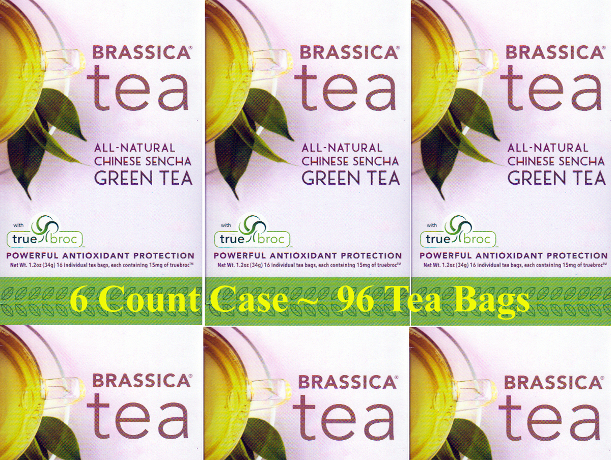 Brassica Green Tea w/Truebroc Case of 6 Boxes (96 Tea Bags)