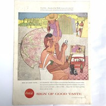 1957 Vintage Coke Print Ad Illustration Jack Potter Coca-Cola Biarritz F... - $11.40