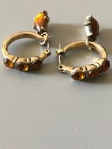 Small Vintage Goldtone Amber Look Pierced Earrings - $5.93