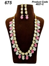 High quality stone necklace earrings kundan Pink White bridal set haar mala - $45.53