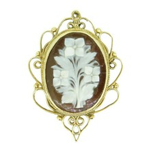 14k Yellow Gold Floral Genuine Natural Shell Cameo Pendant / Pin (#J1680) - $450.00
