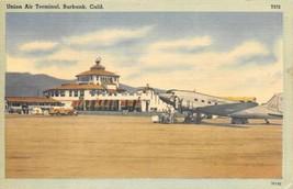 Union Air Terminal Plane Burbank Airport California linen postcard - $7.43