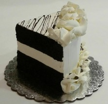 Fake Piece of Cake Sliced Prop Decoration Vanilla Chocolate with top Drizzle - $15.83