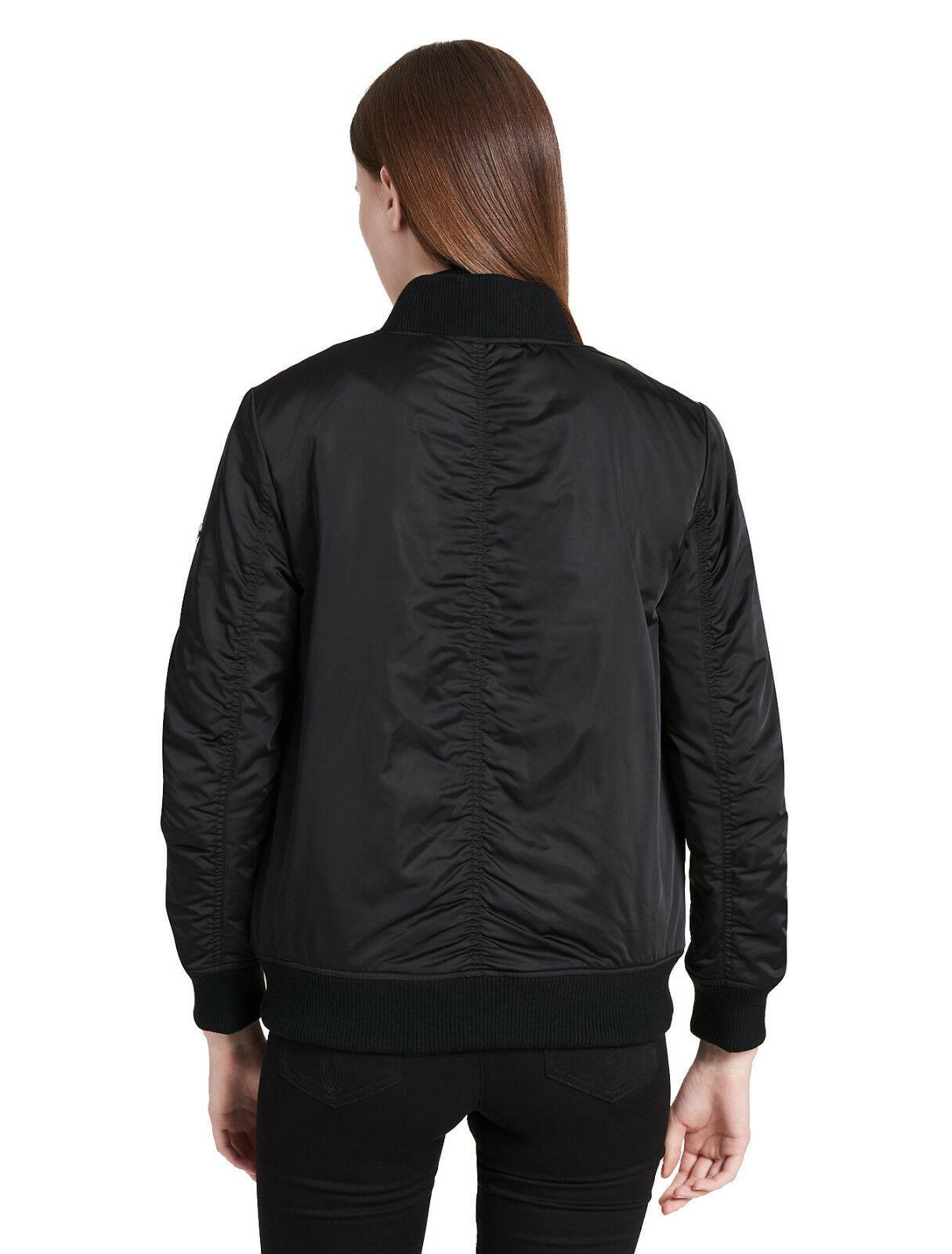 Calvin Klein Womens Black Sateen Ruched Bomber Jacket Coat Sz X-Large XL 7145-1