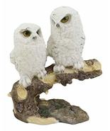 Ebros Night Spies Two White Snowy Baby Owls Perching On Tree Branch Stat... - €18,49 EUR