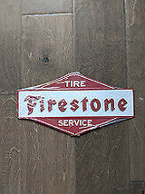 "11""  FIRESTONE Tire Service 3d cutout retro USA STEEL plate display ad Sign - $68.60"