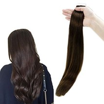RUNATURE Human Hair Tape Extensions 18 Inches Color 2 Dark Brown 50g 2.5g Per Pi