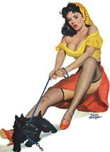American Pinups: Flirt - Brunette Girl in Crop Top With Dog - Driben - 1951 - $12.95+