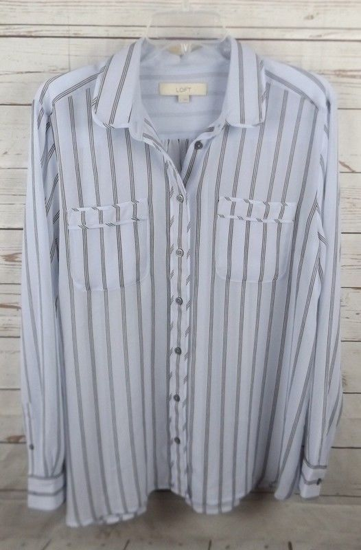 2af84656338334 S l1600. S l1600. Previous. Ann Taylor Loft Blouse Top Large Sheer Light Blue  Black Stripe