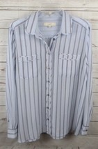 Ann Taylor Loft Blouse Top Large Sheer Light Blue Black Stripe - $18.99