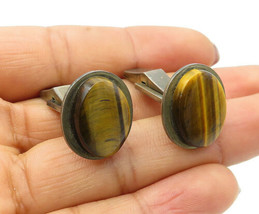 925 Sterling Silver - Vintage Oval Cut Tiger's Eye Cuff Links - T1789 - $37.26