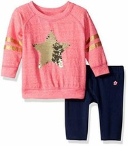 Limited Too Baby 2-Piece French Terry Sequin Star Top & Leggings Set 18 ... - $14.83