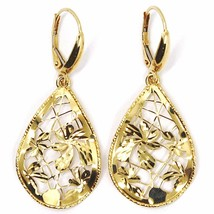 Yellow Gold Drop Earrings 750 18k, Drops Corrugated, Flowers worked image 2
