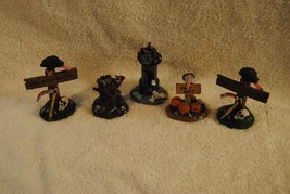 Lot of 5 Rare Lemax Spooky Town Figures Vultures Gargoyle Tower and More - $49.99