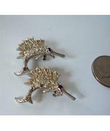 Vintage Pair Rhinestone Sailfish Marlin Pins Pot Metal Rhodium Scatter Fish - $19.79
