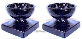 Black Amethyst Glass Candleholders Arts & Craft... - $19.58