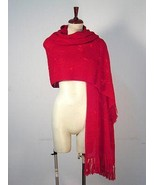 Embroidered red shawl,wrap made of pure Alpaca wool - $165.00