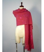 Embroidered huge shawl, scarf made of Alpaca wool - $164.00