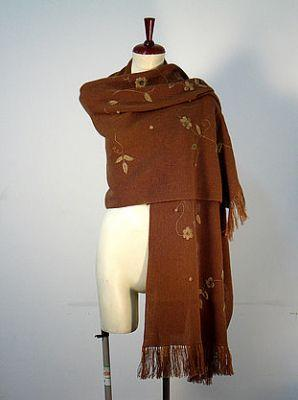 Primary image for Embroidered brown shawl,wrap made of alpacawool