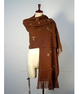 Embroidered brown shawl,wrap made of alpacawool - $186.00