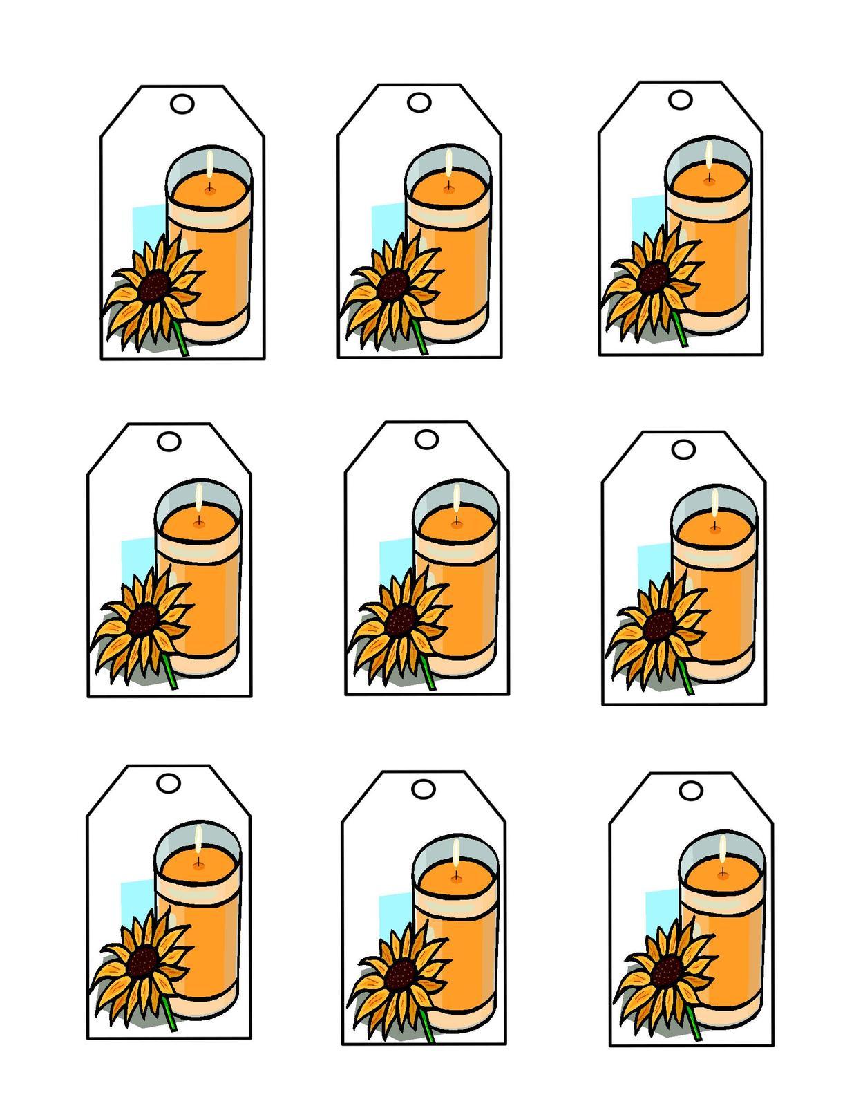 Orange candle tags