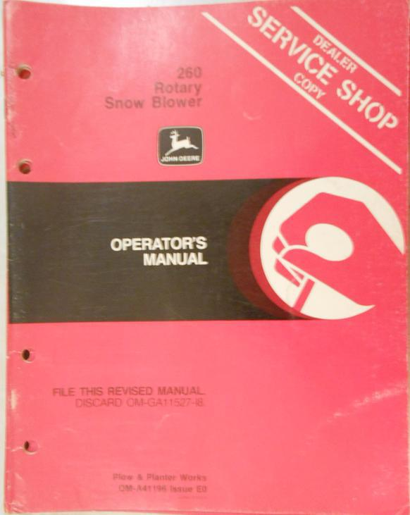 John Deere 260 Snow Blower Operator's Manual