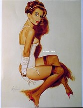 FRITZ WILLIS 2-SIDED PIN-UP GIRL POSTER 2 BRUNETTES IN SEXY LINGERIE PIN... - $9.89