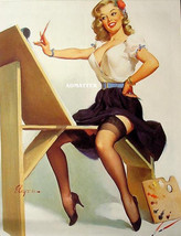 Gil Elvgren Pin Up Poster Artist Painting Smokin' Hot Legs! In Stockings & Heels - $9.89