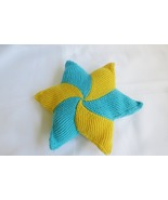 Handmade decorative star pillow - knitted home decor - rustic- azure - y... - $20.00
