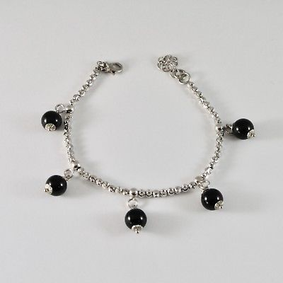 SILVER 925 BRACELET RHODIUM WITH BEADS FACETED AND ONYX BLACK 19 CM