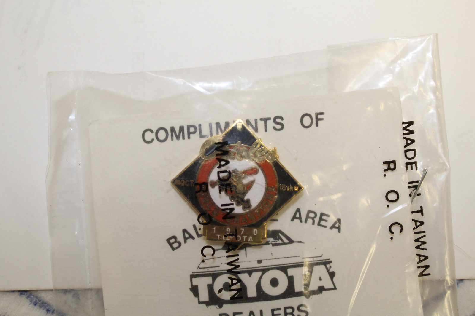 Baltimore Orioles 1970 WORLD SERIES Pin/Button Toyota Dealers Sealed