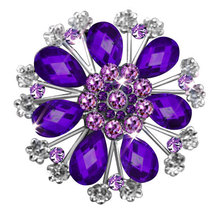 P ugster Vintage Purple Tear Drop Stone Crystal Rhinestone Open Floral F... - $31.99