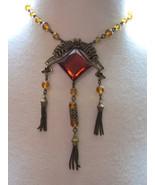 VTG Art Deco Antique Revival Necklace Huge Ambe... - $127.71