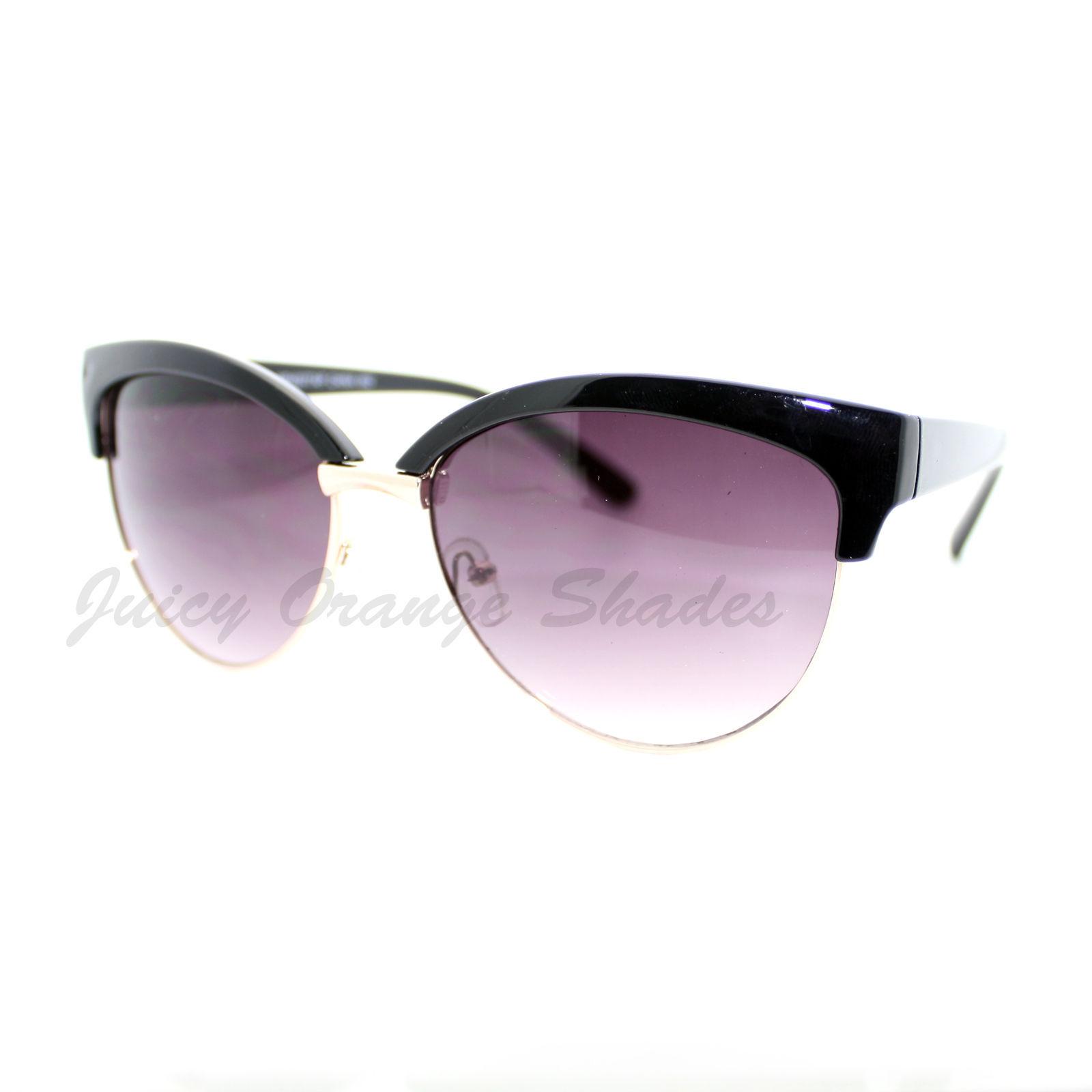 Womens Stylish Fashion Sunglasses Bolded Top Round Cateye