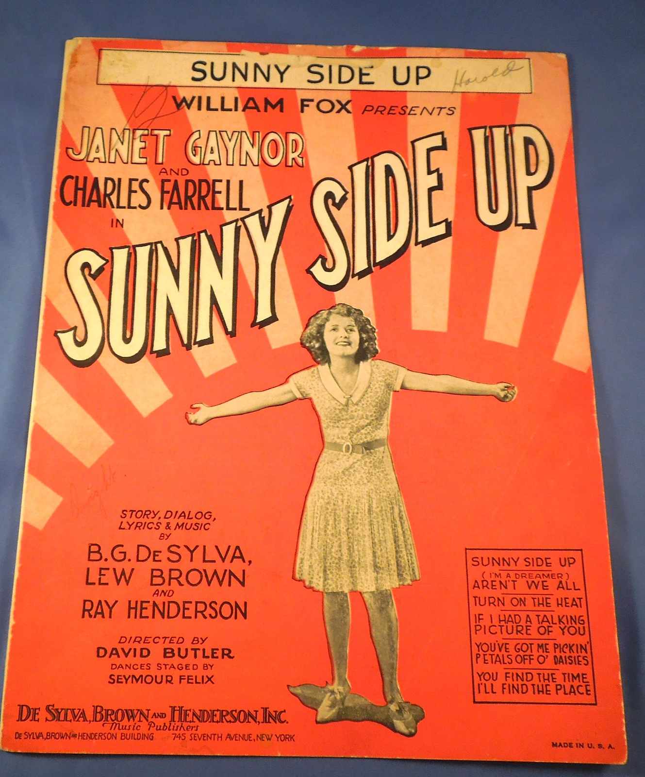 25 1929 sunny side up by desylva  brown    henderson cr  1929 desylva  brown   henderson cond f spine sep writing on cover gen wear and age and handling discolor  6 pgs 9x12 pd .12 05 12  7679