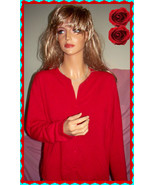 M 8 10 Carolyn Taylor Cardigan Sweater Red Acrylic Very Soft Top  Satin ... - $12.86