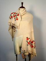 Embroidered huge shawl, wrap made of  Alpaca wool - $225.00