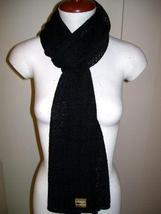 Black casual crocheted scarf, pure Babyalpaca wool - $87.00