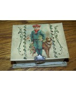 Old antique Celluloid box with child dog flowers sewing / manicure set - $165.00